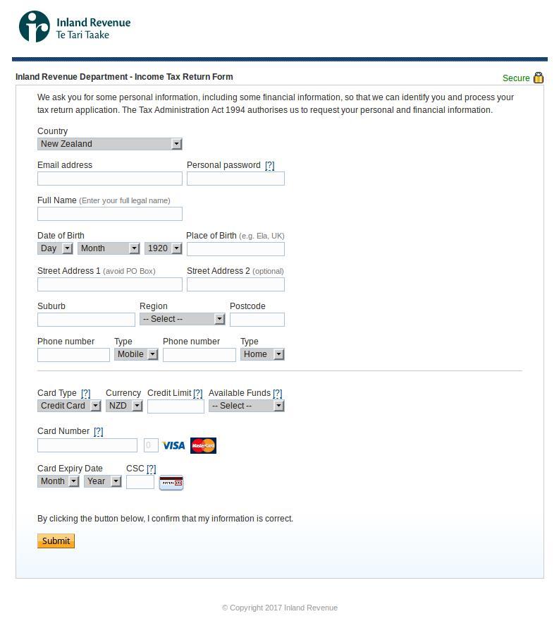 2017 IRD phishing form